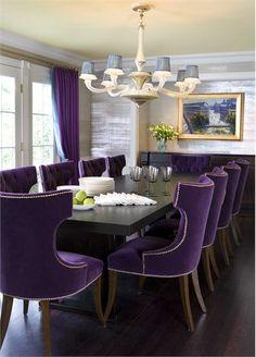 Purple velvet dining room chairs