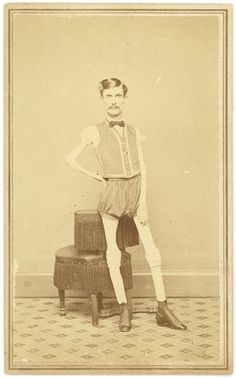 """The Living Skeleton with PT Barnum    Carte de visite.  On the back of this photo is handwritten:    """"I.W. Sprague  Age 29 years  Height 5ft 5 1/2 inch  Weight 46 lbs"""""""