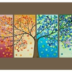 Tree Seasons wall art, living rooms, season, color combos, button, hous, tree art, tree paintings, artwork