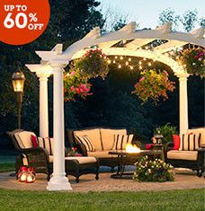 This array of furniture and decor will help you turn your backyard into the ultimate fresh-air escape. Place a classic white pergola around a dining set, firepit, or hot tub to create an intimate area for relaxing and entertaining, or opt for a fuss-free refresh by pairing a wicker loveseat with paper lanterns on your patio.