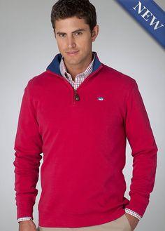 1/4 Zip Pullover w/ Contrast Collar - Berry $99 www.BellasBoutiqueBainbridge.com #SouthernTide #Skipjack