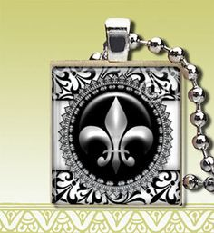 Fleur de Lis - Scrabble Tile Necklace - Black Damask Jewelry.