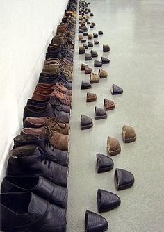 how to do shoes, designer shoes, shoe art, sakir gokcebag, photographic installation, men shoes, art installations, leather shoes, sliding doors