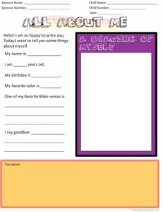 All About Me: A Free Letter Writing Template for writing your first letter to your new sponsored child