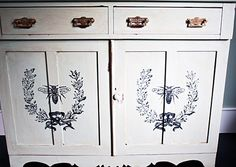 Gorgeous DIY Painted Furniture Project by cynthiaweber.com. Love the French Bee Transfer, such a fabulous transformation!