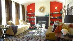 Stylish living room with red accents, designed by Jessica Davis from Nest Studio.  http://www.eurostylelighting.com/modern-inspiration/b/blog/archive/2012/04/13/part-ii-nest-studio.aspx