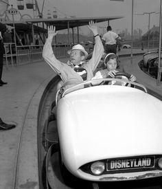 Danny Kaye and his daughter riding Autopia at Disneyland in 1958.