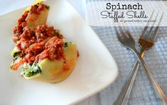 Spinach Stuffed Shells with Meat Sauce #CookClassico