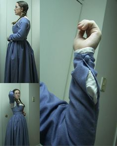 fitted kirtle with waist seam + pin-on sleeves.  Totally cute!