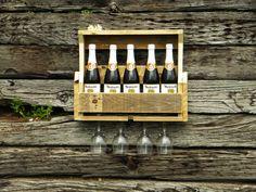 Wine Rack, Pallet Wine Rack, Wedding Gift, Christmas Gift, Liquor Cabinet, Rustic Shelf, Home Decor, Pallet Furniture, Reclaimed Wood, on Etsy, $75.00