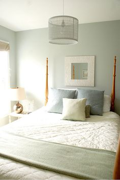 The paint color is Benjamin Moore, 1563, Quiet Moments.  master