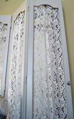 Interior Window Shutters With Fabric Inserts : Shutters with White Lace Inserts Wedding Display Photo Prop Window ...