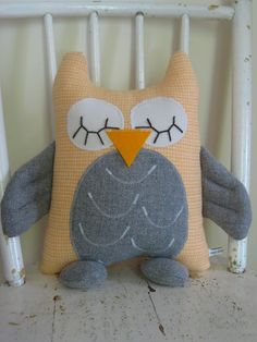 """""""Hoot the Bedtime Owl"""" vintage/upcycled fabric"""