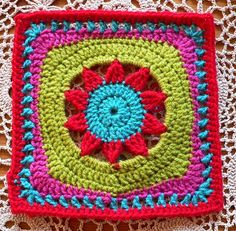 Blooming Lace - love this square! patterns, color, crochet squares, star, bloom lace, crochet granni, afghan squar, motif, crochetgranni squar