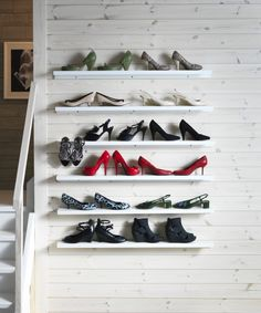 Easy tip for a great wall photo collage: it doesn't always have to be pictures on wall displays. Shoes can look dazzling too on these RIBBA picture ledges from IKEA.