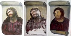 "Old lady's restoration job of century-old ""ecce homo"" fresco of Jesus."