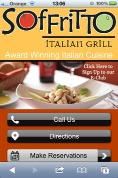 Lovely mobile site design of an Italian grill restaurant. Great colours, very appealing - makes me want to eat there! Great calls to action and also includes the ability to make a reservation right from your mobile phone. Excellent.   => for help, tips, news and more information about mobile marketing and mobile website design visit http://www.localviralbuzz.co.uk