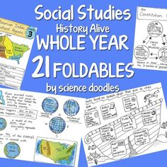 Social Studies WHOLE YEAR 21 Foldables BUNDLE by Science Doodles