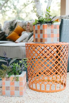 Easy cinder block turned outdoor fall vases!