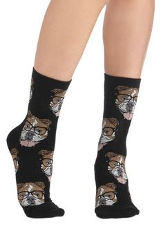 Wearable Whimsy Socks in Black Bulldogs, #ModCloth