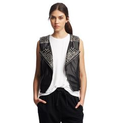 Harley Studded Leather Vest - Kenneth Cole