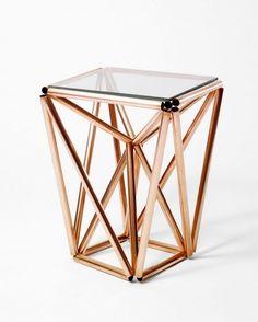 Sculptural copper tubing side table DIY.