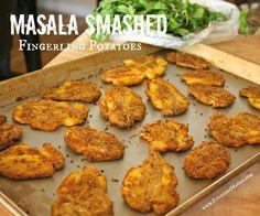baked potatoes, olive oils, side, fingerl potato, masala smash, coconut oil, recip, smash fingerl, yummi food