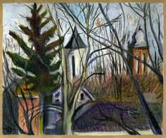 alongtimealone:  2 Steeples in Winter (by Marcia Milner-Brage)