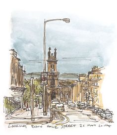 Howe Street, Edinburgh. Pen sketch with watercolour. Available as a print from £18 https://www.etsy.com/uk/listing/191073040/howe-street-edinburgh-pen-sketch-with?ref=af_shop_favitem