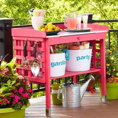 Boost the function of a store-bought potting bench, which doubles as an outdoor serving station.