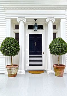 Aerin Lauder's Home in Southampton: black door with stripes