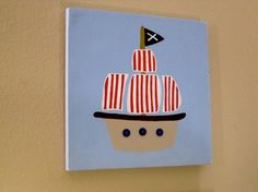 Pirate Ship Canvas Art for nursery boys room by CuteAsAButtonArt, $25.00