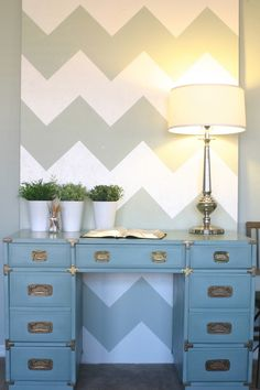 Cheaper than committing to painting the wall use plywood instead for a statement piece.   DIY « becauseiliketodecorate… wall accents, chevron patterns, headboard, offic, diy wall art, paint, desk, design, accent walls