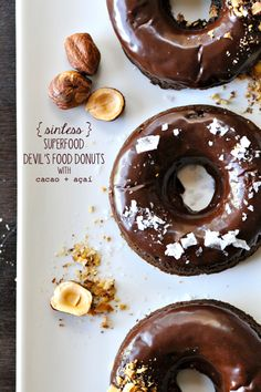 sinless superfood devil's food donuts (cacao + açaí)