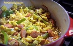 Bowties and sausage recipe is so easy and good. Use turkey smoked sausage for health