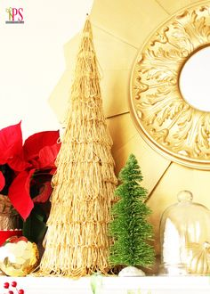 This gold fringe topiary Christmas tree at Positively Splendid is so gorgeous! #Christmas #craft