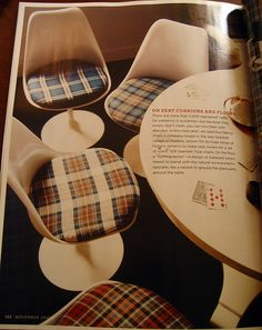 Tulip chairs with plaid seats