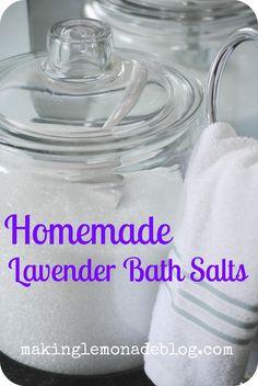 Lavender Bath Salts:                        Epsom salt                        Baking soda (my add in)                        Doterra lavender oil