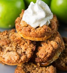 Mini Apple Pies with a crumbly streusel topping. These cute little mini apple pies are made very easily in a muffin tin, only 18-20 minutes until they are perfectly baked! My favorite part about this entire recipe is the crumble topping – buttery with cinnamon! Yum!
