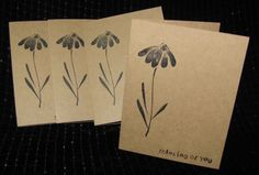Blank Handmade Card Set   Thinking of You by DiannesCreativePlace,