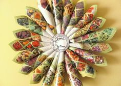 wreath made of seed catalog pages