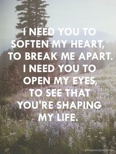 I need You to soften my heart, to break me apart. I need You to open my eyes, to see that You're shaping my life.
