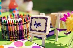 art party, crayon, art parti, birthday theme, birthday parties, place cards, artscraft birthday, artscraft parti, parti idea