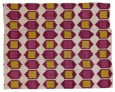 textile-museum:   Panel, Uzbekistan. Late 19th century. Silk, cotton; warp,ikat. TM 2005.36.50. The Megalli Collection.
