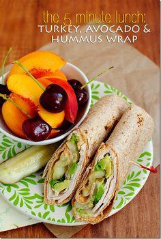 Turkey, Avocado & Hummus Wrap takes just 5 minutes to make! #lunch #recipe #easy #healthy | iowagirleats.com