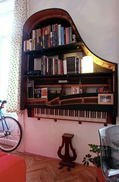 dream, cool bookshelf, hang bookshelf, diy music decorations, hous, hanging bookshelf, furnitur, design, old pianos