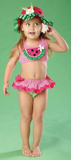 Watermelon Swimsuit and hat. --- my mom was always dressing me in watermelon clothes, but I never had this cute lil thing!