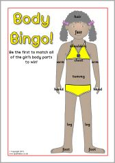 Boy and girl body bingo game (SB10049) - SparkleBox