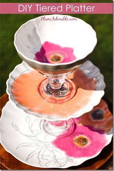 DIY Tiered Platters diy tier, vintage plates, idea, crafti, tier platter, gifts, bath bombs, plum, bowls