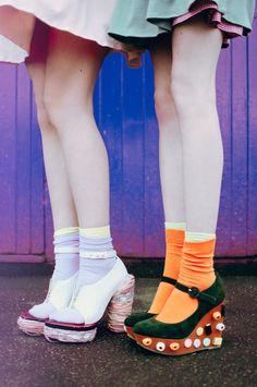 Colorful socks and heels.
